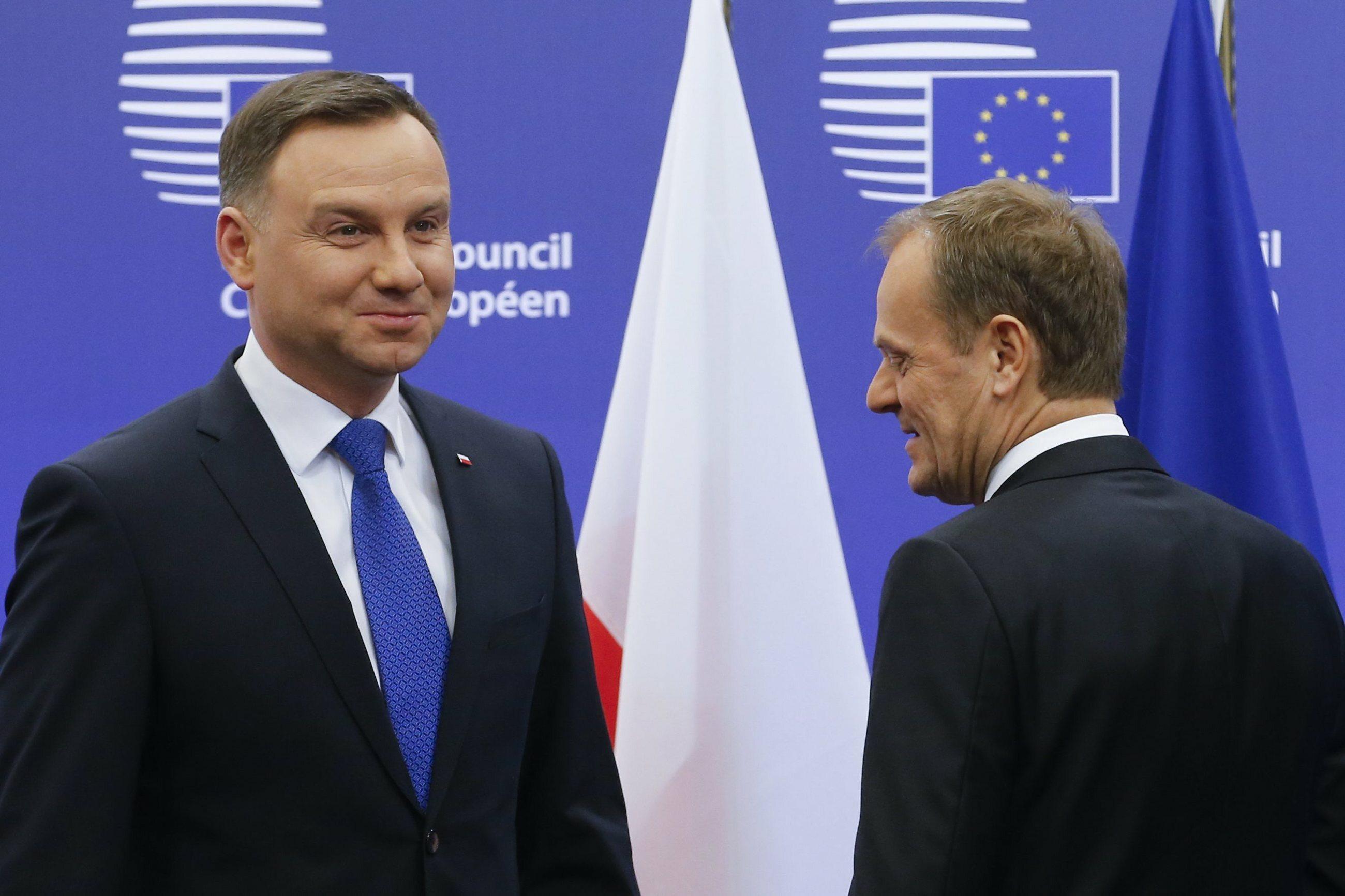 Prezydent Andrzej Duda i były polski premier, szef Rady Europejskiej Donald Tusk