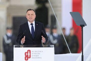 Prezydent Andrzej Duda na pl. Piłsudskiego w Warszawie