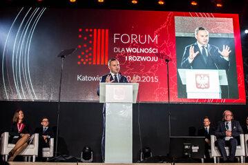 Prezydent Andrzej Duda na zeszłorocznym Forum