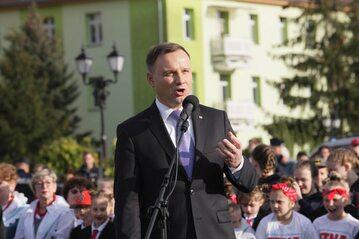 Prezydent Andrzej Duda podczas spotkania z mieszkańcami Krosna Odrzańskiego
