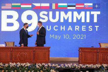 Prezydent Andrzej Duda podczas szczytu G9 w Bukareszcie
