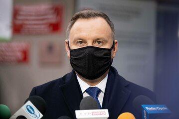 Prezydent Andrzej Duda podczas wypowiedzi dla mediów