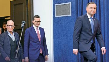 Prezydent Andrzej Duda, premier Mateusz Morawiecki i szef Rady Mediów Narodowych Krzysztof Czabański