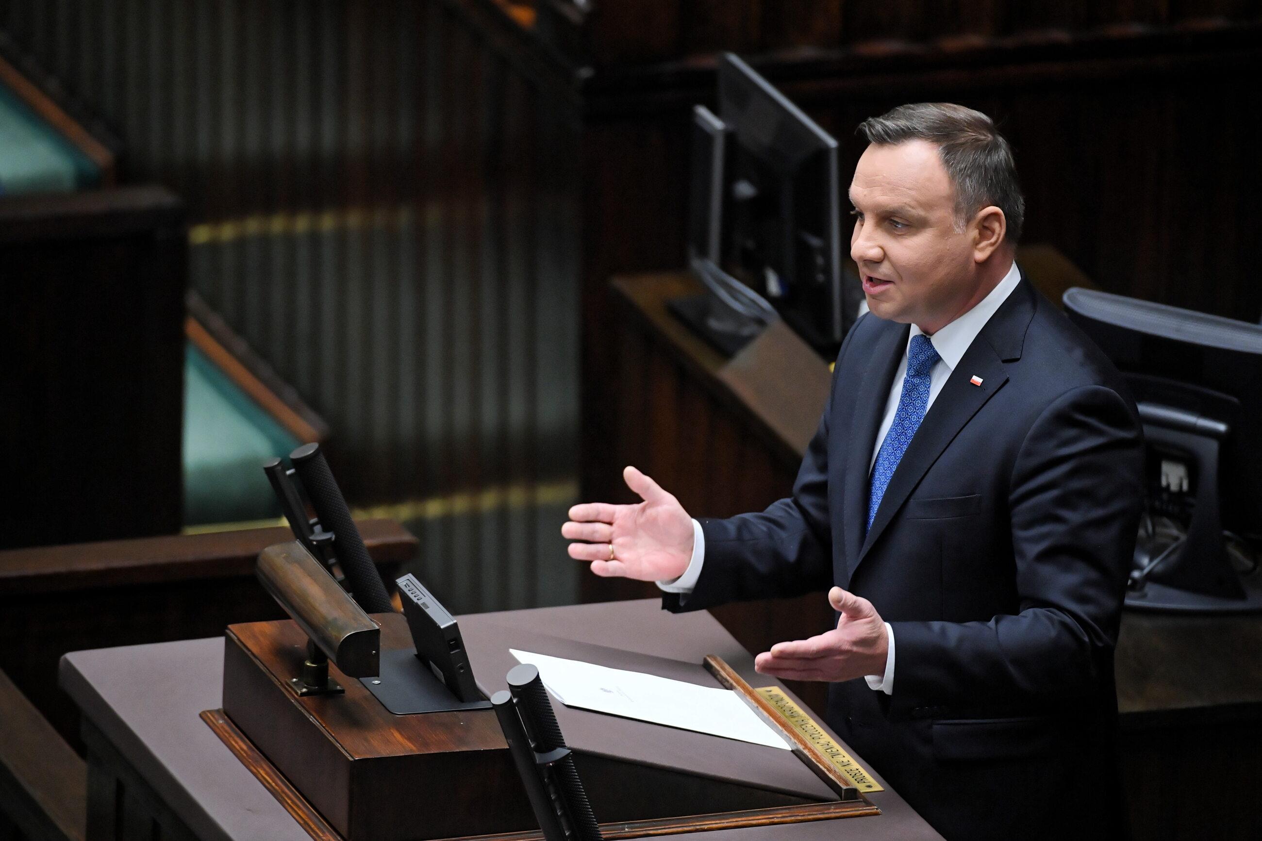 Prezydent Andrzej Duda wygłasza orędzie w Sejmie