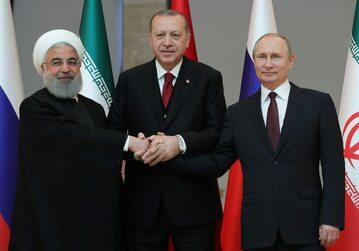 Prezydent Iranu Hassan Rouhani, prezydent Turcji Recep Tayyip Erdogan i prezydent Rosji Władimir Putin