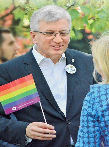 Prezydent Poznania Jacek Jaśkowiak na Paradzie Równości w 2015 r.