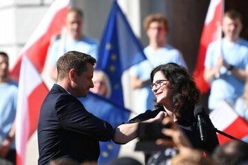 Prezydent Warszawy Rafał Trzaskowski i prezydent Gdańska Aleksandra Dulkiewicz.