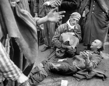Prisoners of German concentration camp in Wöbbelin, liberated by US Army