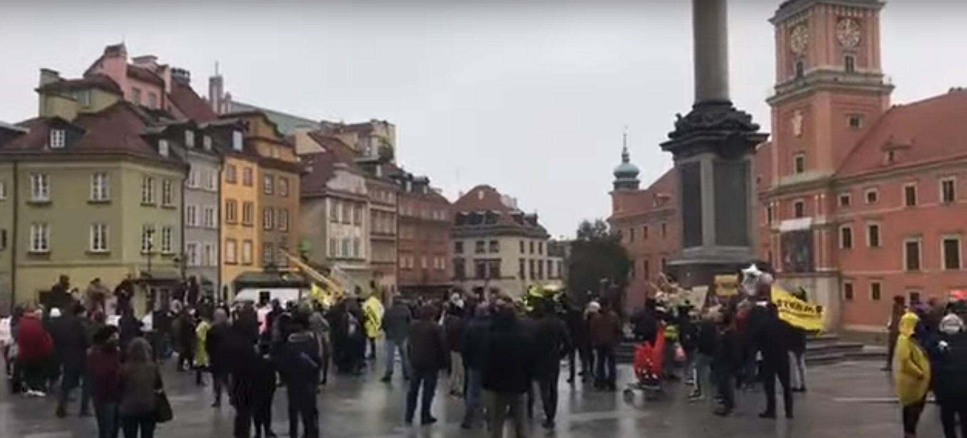 Protest na pl. Zamkowym w Warszawie