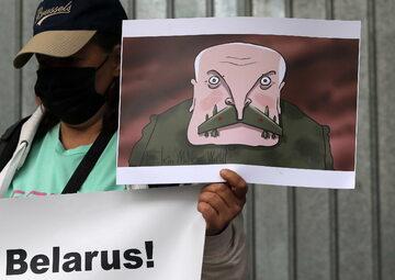 Protest przed ambasadą Białorusi