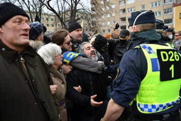 Protest w Sztokholmie, zdjęcie ilustracyjne
