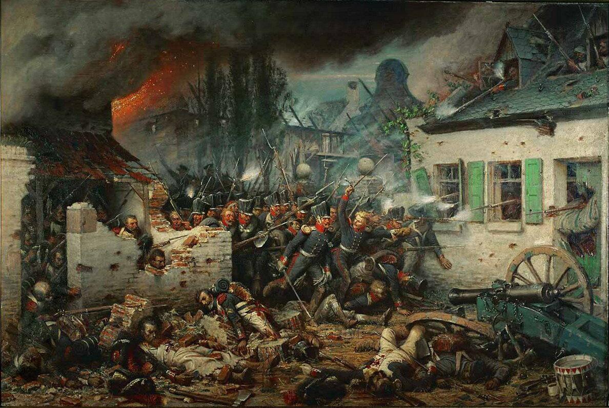 Prusacy atakują Plancenoit podczas bitwy pod Waterloo. Obraz Adolfa Northerna