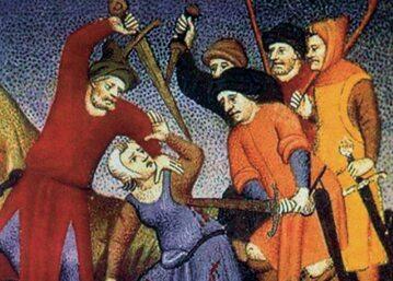 Rabusie zabijający przechodnia, ilustracja z XV w.