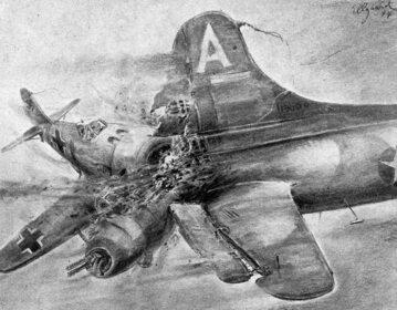 Rysunek Helmutha Ellgaarda przedstawiający taranowanie amerykańskiego bombowca.