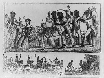Rysunek z 1831 roku pokazujący rzeź białych podczas powstania Nata Turnera.