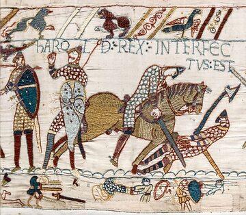 Śmierć króla Harolda w bitwie pod Hastings. Fragment z Tkaniny z Bayeux