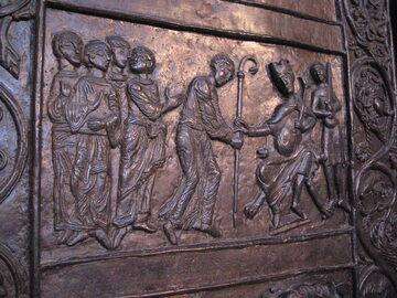 Św. Wojciech i cesarz Otton III – fragment drzwi gnieźnieńskich