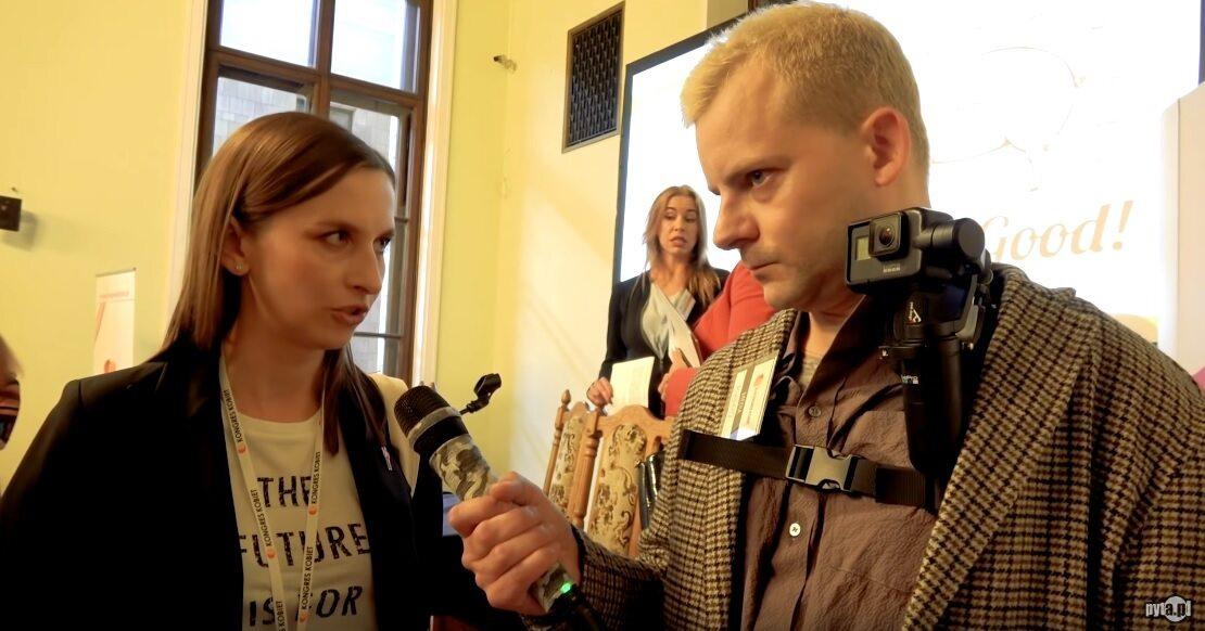 """Sylwia Spurek i Mikołaj """"Joak"""" Janusz podczas Kongresu Kobiet"""