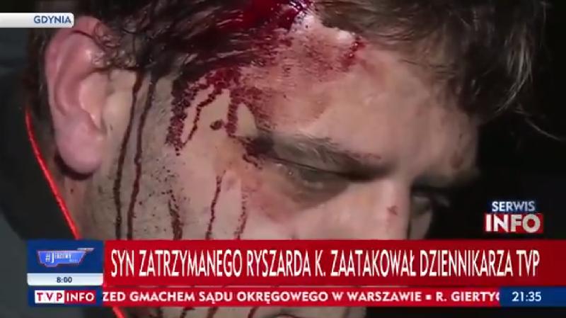 Syn zatrzymanego Ryszarda K. zaatakował operatora TVP