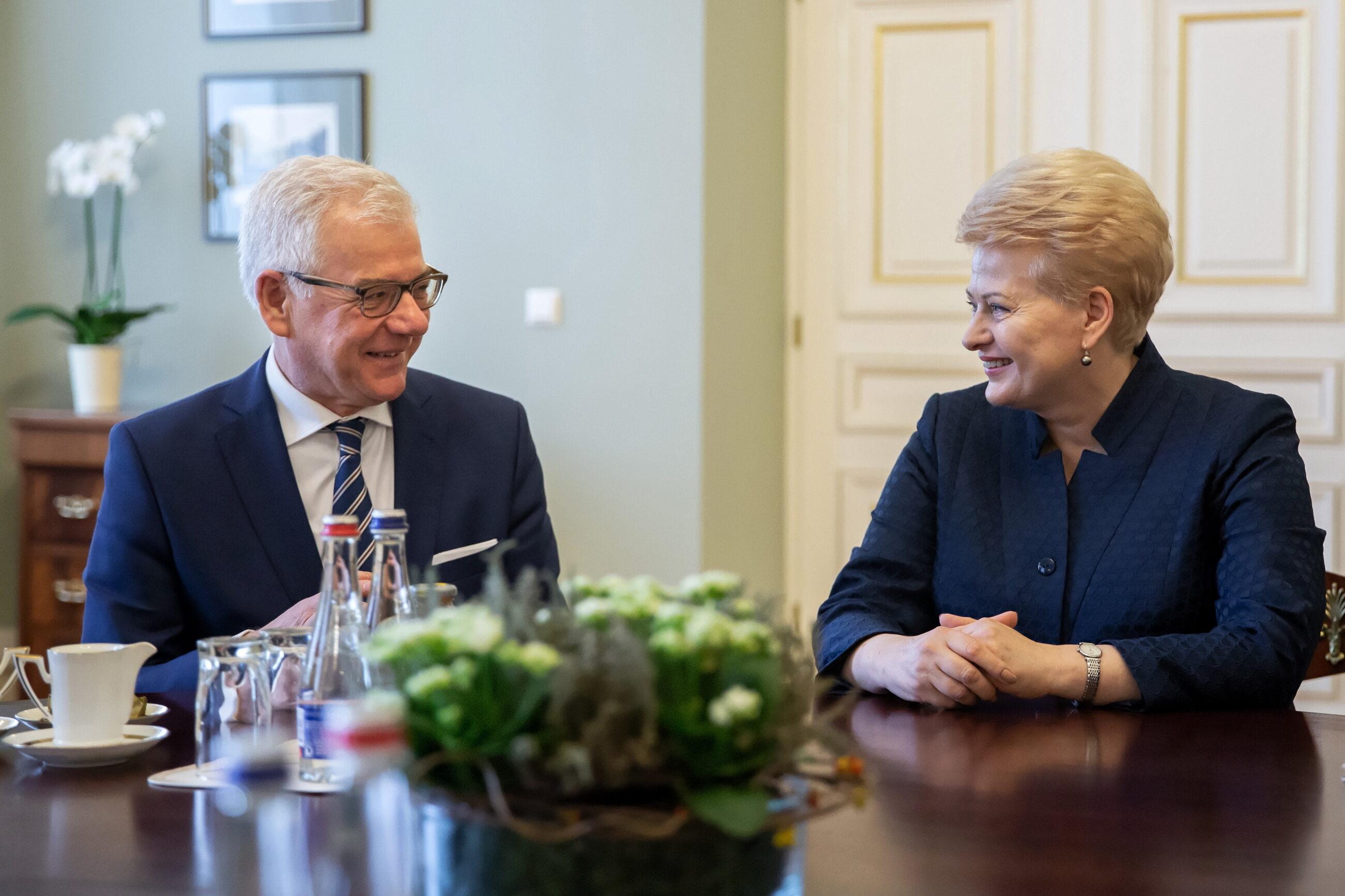Szef MSZ Jacek Czaputowicz i prezydent Litwy Dalia Grybauskaite
