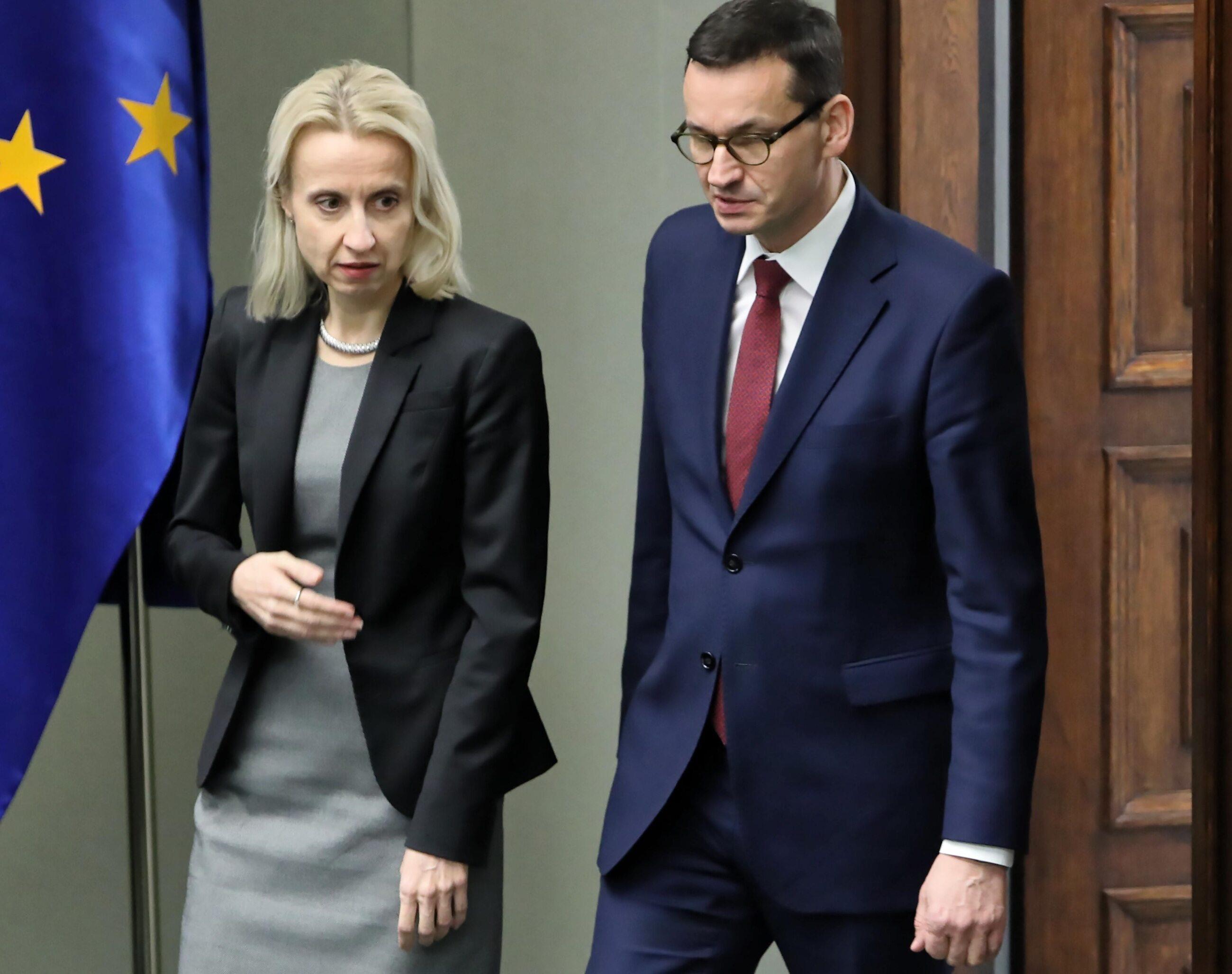 Teresa Czerwińska i Mateusz Morawiecki w Sejmie