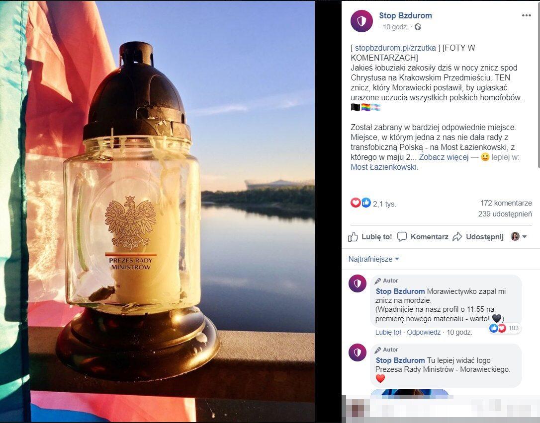 Ubiegłej nocy działacze LGBT ukradli znicz pozostawiony pod pomnikiem przez premiera Mateusza Morawieckiego.