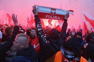 Uczestnicy Marszu Niepodległości w Warszawie.