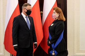 Uroczystość uhonorowania Georgette Mosbacher w Pałacu Prezydenckim