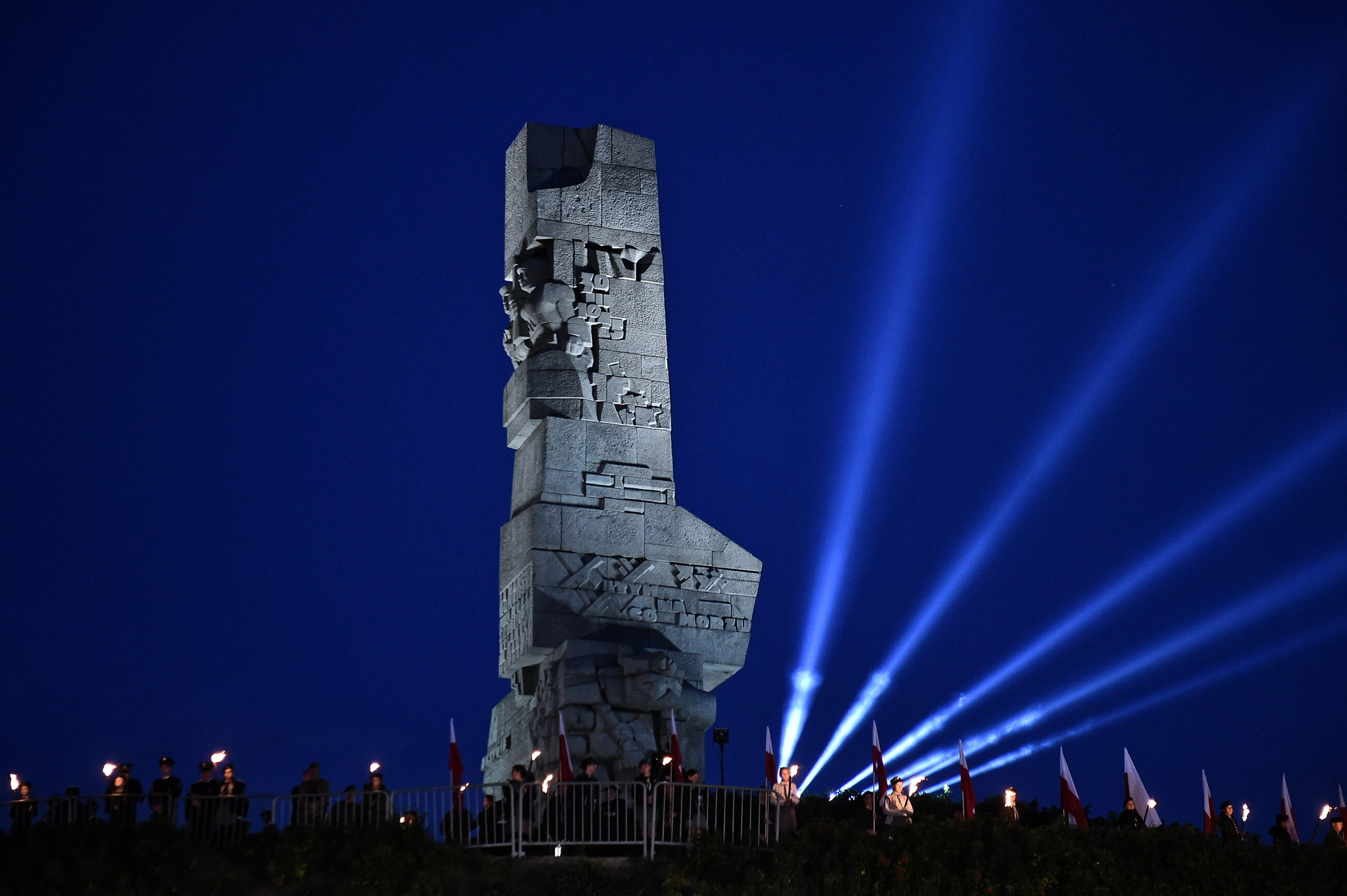 Uroczystości upamiętniające 79. rocznicę wybuchu II wojny światowej przed Pomnikiem Obrońców Wybrzeża na Westerplatte,