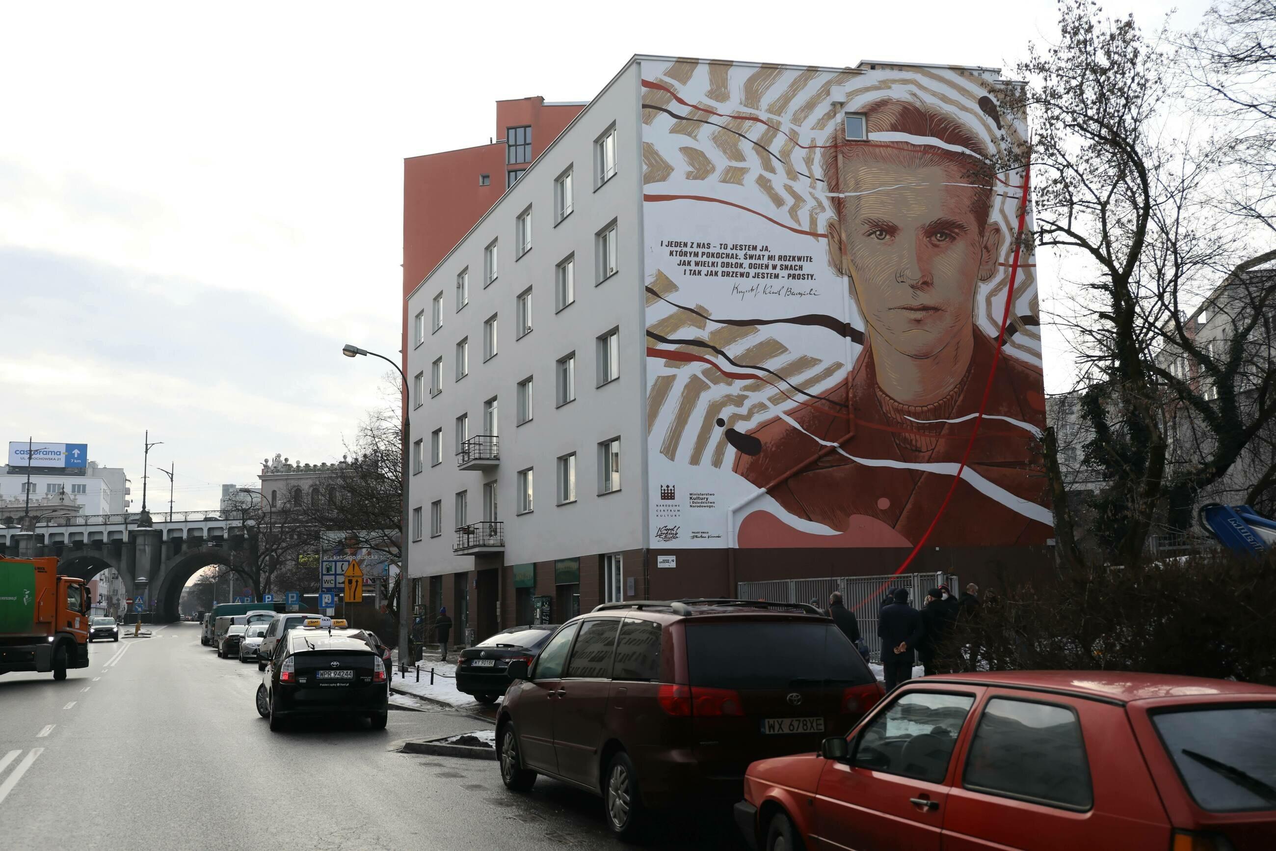 Warszawa, Solec. Mural poświęcony Krzysztofowi Kamilowi Baczyńskiemu