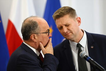 Wicemarszałek Sejmu Włodzimierz Czarzasty oraz poseł Lewicy Andrzej Rozenek