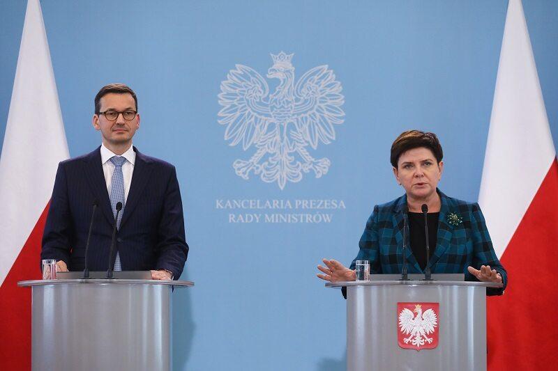 Wicepremier Beata Szydło i  premier Mateusz Morawiecki