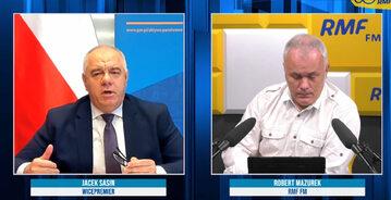 Wicepremier, minister aktywów państwowych Jacek Sasin był gościem Roberta Mazurka w studiu radia RMF FM.