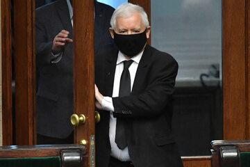 Wicepremier, prezes PiS Jarosław Kaczyński na sali obrad Sejmu w Warszawie