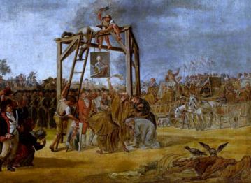 Wieszanie zdrajców (in effigie). Autor: Jan Piotr Norblin
