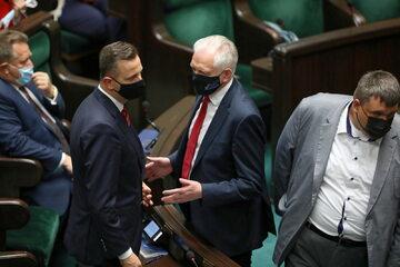 Władysław Kosiniak-Kamysz (PSL) i Jarosław Gowin (Porozumienie) w Sejmie