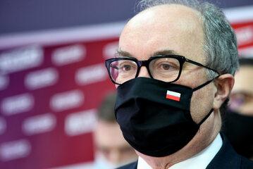 Włodzimierz Czarzasty podczas konferencji prasowej w siedzibie Nowej Lewicy w Rzeszowie