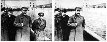 Woroszyłow, Mołotow, Stalin i Jeżow w Moskwie. Obok to samo zdjęcie po retuszu bez Jeżowa.