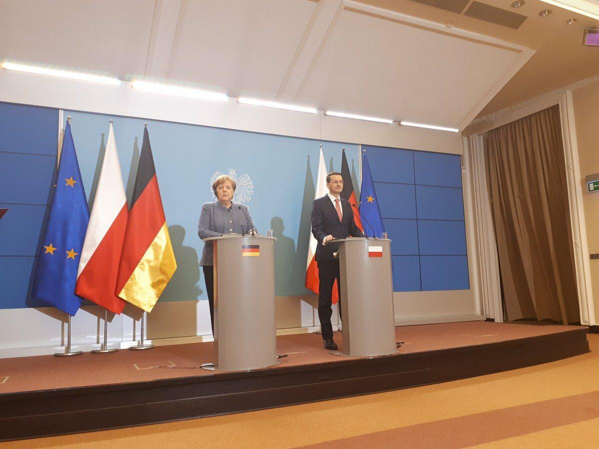 Wspólna konferencja prasowa kanclerz Angeli Merkel i premiera Mateusza Morawieckiego