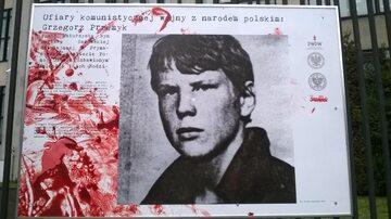 Wspomnienie Grzegorza Przemyka na wystawie PWPW