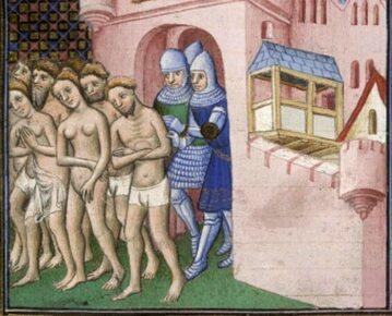 Wyrzucenie katarów z Carcassone (1209 rok). Miniatura z pocz. XV wieku.