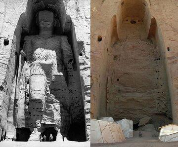 """""""Wyższy"""" Budda z Bamianu. Miejsce przed i po wysadzeniu w powietrze"""
