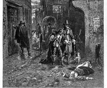 XVII-wieczny rysunek przedstawiający epidemię dżumy w Londynie.