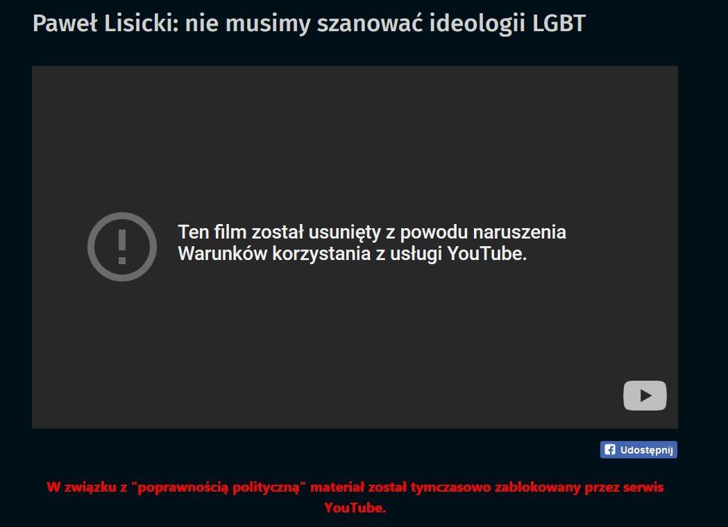 """Z YouTube usunięto jeden z odcinków programu """"Wierzę"""", w którym Paweł Lisicki rozmawiał o ideologii LGBT"""