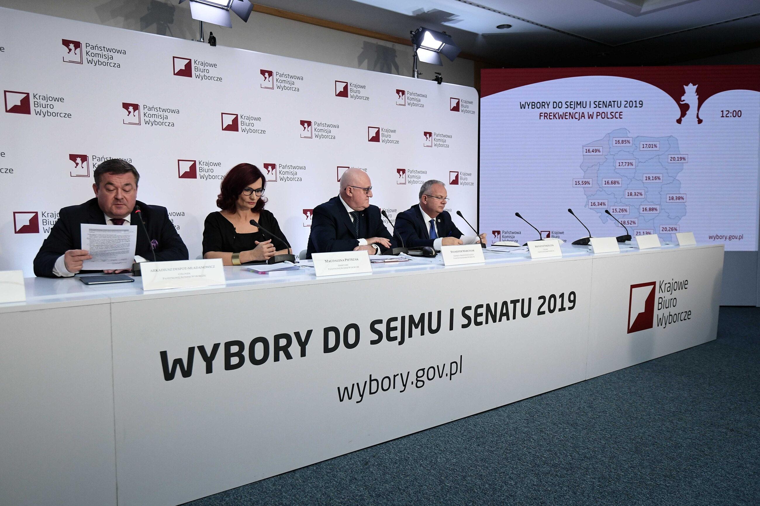 Za stołem, członkowie PKW: sekretarz Krajowego Biura Wyborczego Magdalena Pietrzak (2L), sędzia NSA Arkadiusz Despot-Mładanowicz (L), sędzia NSA Sylwester Marciniak (2P) i Krzysztof Strzelczyk (P) podczas drugiej konferencji prasowej PKW nt. frekwencji i
