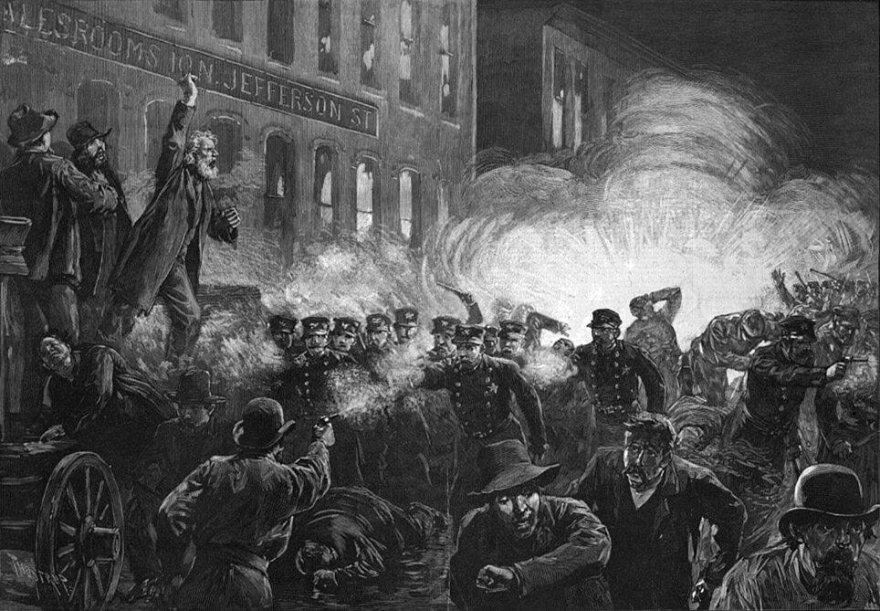 Zamieszki na Haymarket w Chicago. Ilustracja z Harper's Weekly, 15 maja 1886.
