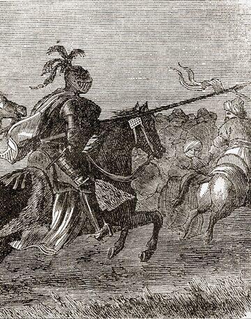 """Zawisza Czarny uderzający na Turków. Ilustracja z książki """"Obrazki historyczne"""" z 1862 r. Rycerz często przedstawiany był w czarnej zbroi, choć nie ma żadnych dowodów, że takiej rzeczywiście używał."""