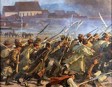 Zdobycie Sybina w 1849 – fragment Panoramy siedmiogrodzkiej. Autor: Jan Styka
